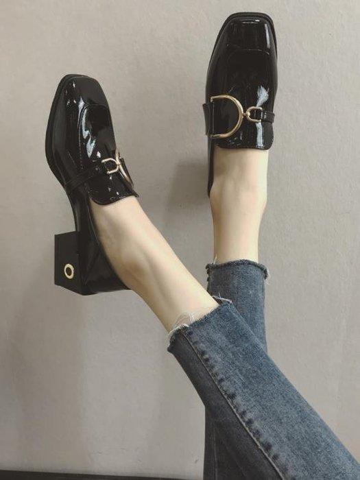 鞋子女百搭復古網紅高跟ins小皮鞋女潮韓版粗跟單鞋