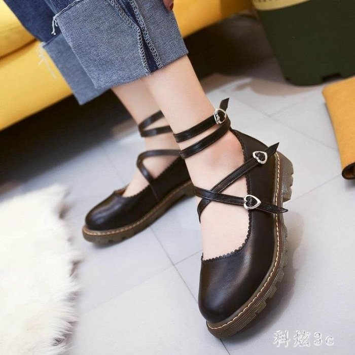 日系娃娃鞋 復古圓頭娃娃鞋女平底綁帶休閒百搭森女小皮鞋瑪麗珍單鞋 DN19260