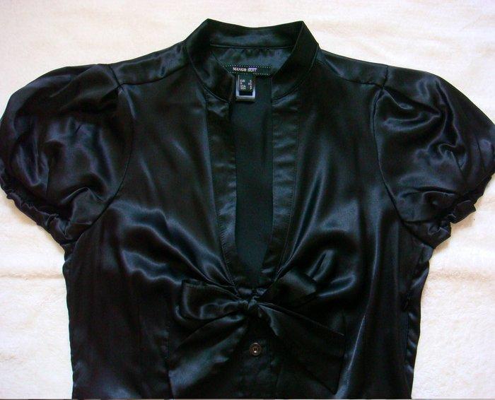 二手 【 MNG】(MANGO) 修身款 黑色 浪漫氣質 緞面珠光 深V襯衫 S號