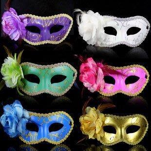 Cosplay 派對舞會公主面具 精美平頭彩繪側花面具 芙蓉花面具 6個價