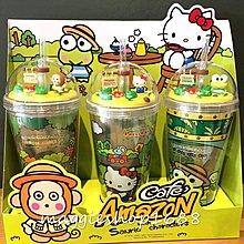 泰國限定Amazon Cafe x Sanrio KeroKeroKeroppi hellokitty 馬騮仔限量小花園俠管水杯