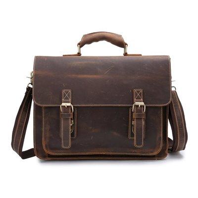 【高質感】真皮公文包歐美熱賣復古瘋馬皮男包橫款手提包大容量男士商務