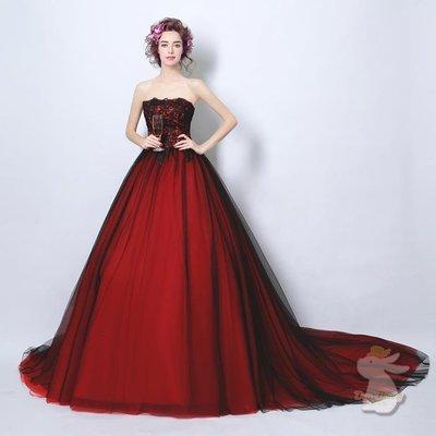🐇寶貝兔-L9014 酒紅色婚紗晚禮服裙 新娘答謝宴敬酒服 拖尾 可訂做 婚禮婚宴 婚紗結婚禮服