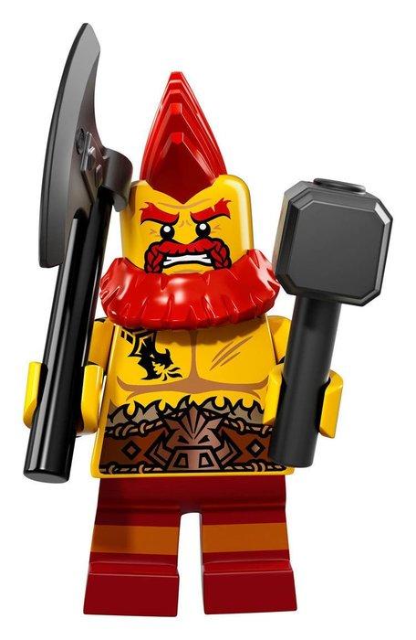 【LEGO 樂高】2017最新 積木/ Minifigures人偶包系列:17代 71018  #10 龐克頭矮人+武器