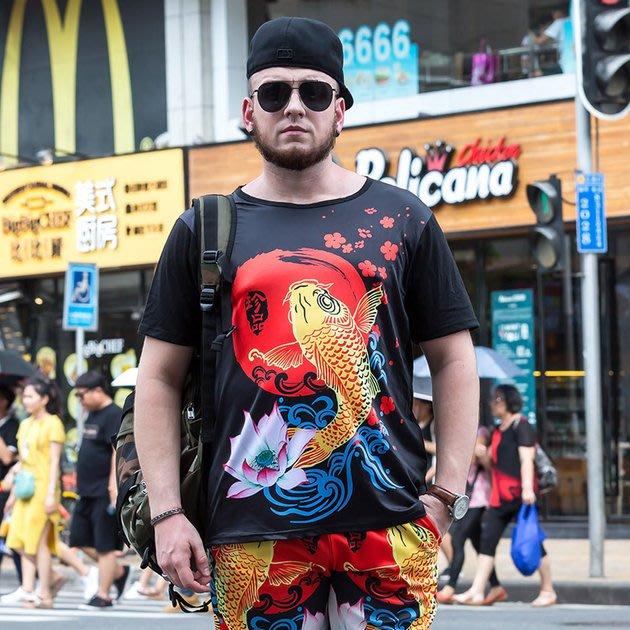 FINDSENSE品牌監製 大尺碼男裝 鯉魚荷花3D印花潮款大碼短袖薄款個性短袖夏季男大尺碼寬鬆透氣T恤速乾排汗T