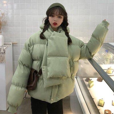 冬新款韓版百搭小清新加厚保暖連帽圍巾棉服ins面包服女潮