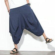 逆主流  中國風大碼男裝闊腿褲仿棉麻燈籠褲