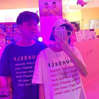 2018新款夏季字母印花五分袖T恤韓版寬松百搭情侶裝 短袖體恤男女
