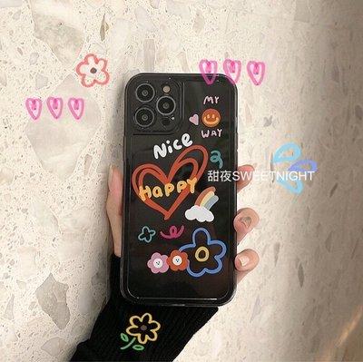 Tactile`甜夜/透明灰黑色個性涂鴉蘋果12Pro max硅膠手機殼iPhone11適用8p