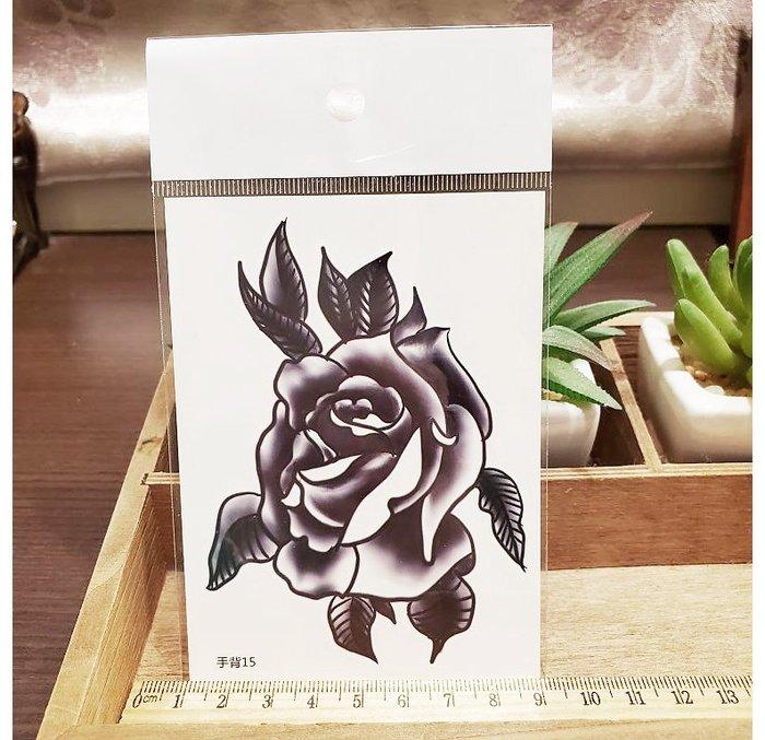 【萌古屋】】黑玫瑰花朵 - 手背防水紋身貼紙刺青貼紙15 K12