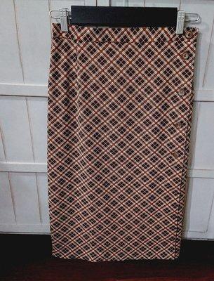 LL 日本製雪紡鈕扣式一片裙及膝小A窄裙-經典復古可可格紋