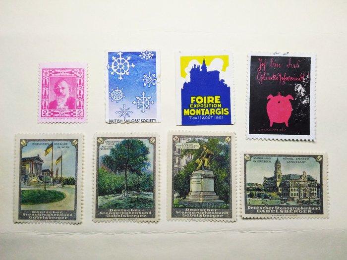 歐洲國家 早期特殊罕見 cinderella poster stamp 灰姑娘海報郵票 8枚