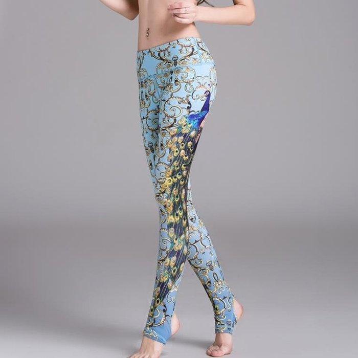 孔雀印花瑜伽褲女跑步顯瘦運動彈力緊身褲提臀透氣速干踩腳健身褲