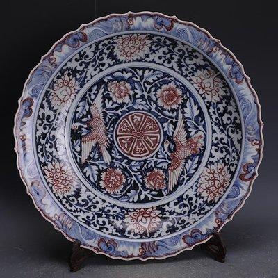【三顧茅廬 】元青花釉里紅藍地白花雙鳳紋瓷盤 官窯文物古瓷器手工瓷古玩收藏