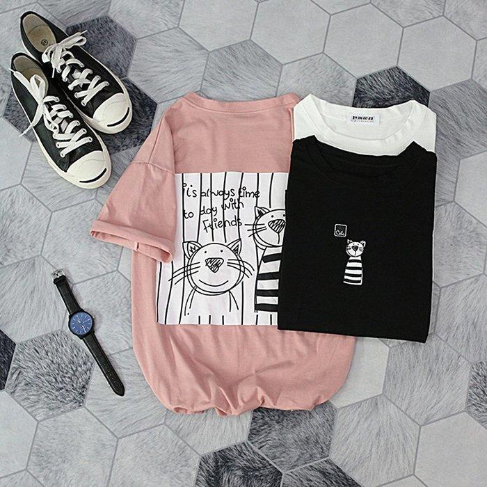 T恤 網紅t恤男女情侶ins夏季可愛日系軟妹寬鬆姐妹閨蜜裝印花短袖上衣