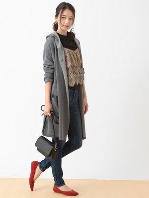 購於日本 卡其偏綠x黑 睫毛蕾絲 兩件式上衣  earth music&ecology日幣2990+稅 3色  KWT1
