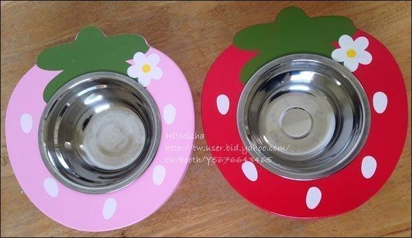 ✿ Misha ✿ 寵物木製寵物餐桌 草莓單碗 貓狗適用 餐架 附贈碗 紅粉 現【滿千免運】