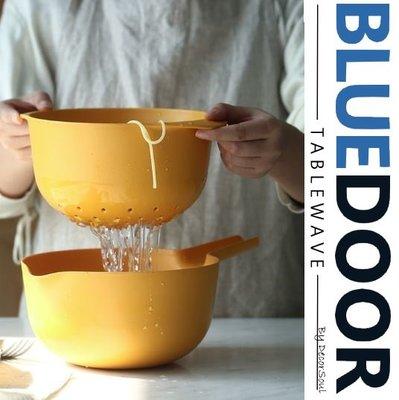 BlueD_ 環保 耐熱竹纖維 雙層洗菜 瀝水籃 洗菜籃 沙拉 攪拌碗 洗菜盆 水果籃 家用創意 水果盤 廚房 北歐風