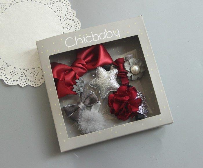 ☆草莓花園☆B45氣質灰10件組 女寶寶嬰兒安全包布夾 髮飾髮夾飾品禮盒十件套裝組 禮物 造型周歲照 藝術照