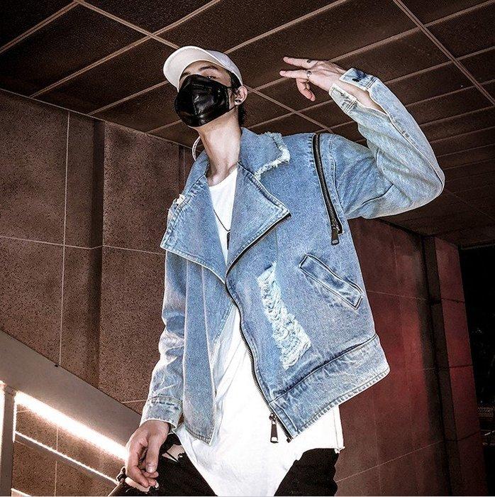 ☆~崇尚潮男瘋~☆【A08-JK11 韓版街頭嘻哈破洞拉鏈個性休閒牛仔夾克外套】