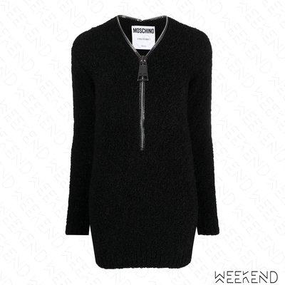 【WEEKEND】 折扣 MOSCHINO 特殊造型 大拉鍊低胸 合身 彈性 長袖 短洋 黑色