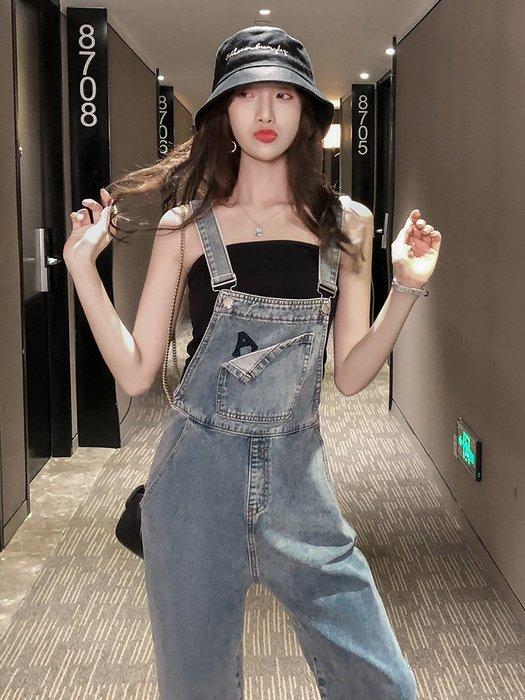 ❤Princess x Shop❤韓國同款春季背帶褲吊帶褲女寬鬆顯瘦高腰歐貨老爹直筒牛仔褲TF27-89-5