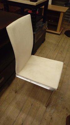 【土城二手市集】不鏽鋼米白色皮面洽談椅/餐椅/不銹鋼主人椅/書桌椅/休閒椅/鐵椅
