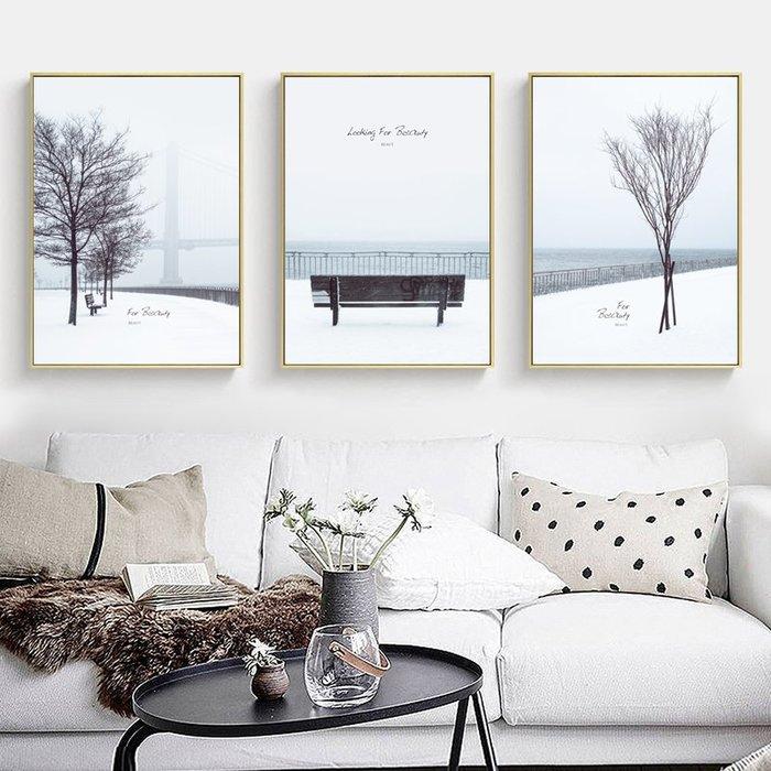 ABOUT。R  北歐白色雪景掛畫極簡風裝飾畫客廳沙發背景牆裝飾住宅空間工作室三聯畫浪漫唯美英文風景裝飾畫 (3款可選)