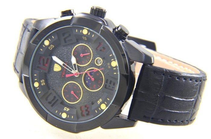 (六四三精品)大圓錶徑:4.4公分,三眼六針.多功能.星期.日期.月份.24小時制功能.自動上鍊機械錶,