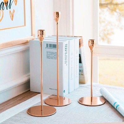 HU簡約傢居 北歐丹麥簡約設計 玫瑰金色燭台 鐵藝浪漫奢華居家樣板房百搭 燭台 北歐風燭台