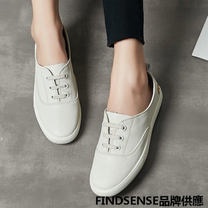 FINDSENSE品牌 四季款 新款 日本 女 高品質 個性  學院風 真皮小白鞋 舒適  時尚運動 休閒鞋  潮流鞋子