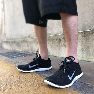 【Boring】Nike Free 4.0 Flyknit 赤足 慢跑鞋 黑白 飛線 復古631050-001