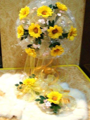 B. & W. world *美美的花飾*R13055*向日葵新娘捧花、胸花整組花飾*~幸福陽光、天長地久~