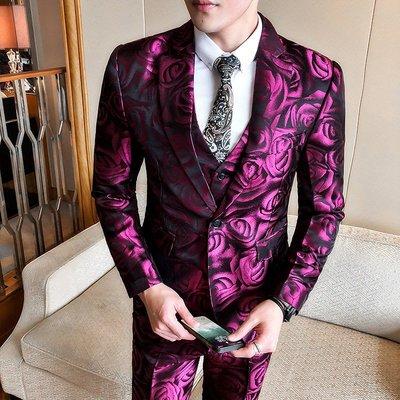 【型男風尚】AZ0300*S-5XL西裝三件套 禮服 大碼 花色西裝 休閒西服套裝