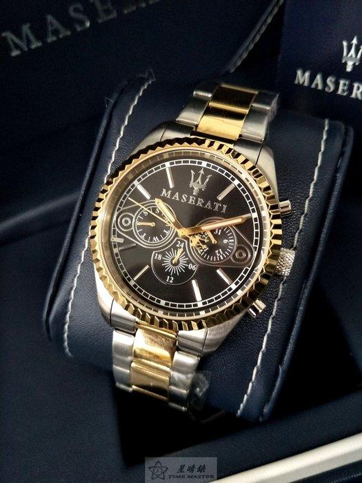 請支持正貨,瑪莎拉蒂手錶MASERATI手錶COMPETIZIONE 款,編號:MA00063,黑色錶面金銀錶帶款