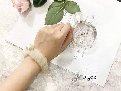 【海星 Starfish】溫柔小女人款 珍珠柔毛手環(卡其杏)