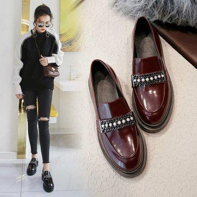 Fashion*英倫風小皮鞋 春秋新款真皮厚底鞋 松糕珍珠單鞋中跟一腳蹬懶人鞋34-39碼