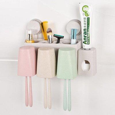 小麥秸稈吸盤自動擠牙膏器套裝壁掛刷牙杯牙刷架漱口杯 交換禮物