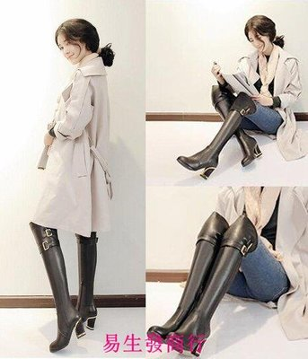【易生發商行】秋冬歐美皮帶扣高跟靴子女側拉鏈粗跟過膝長靴子粗高跟長筒F6318