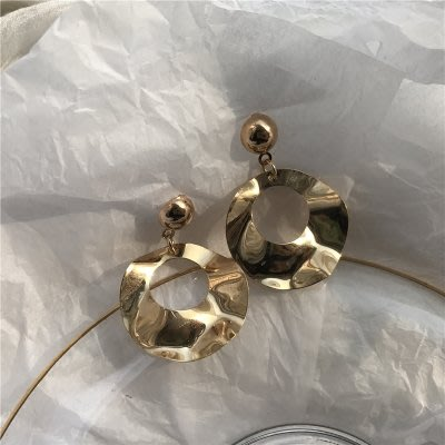 夾式 耳環 正韓[奶奶]歐美夸張鏤空圓形吊墜耳釘韓國百搭個性復古氣質耳環耳夾女