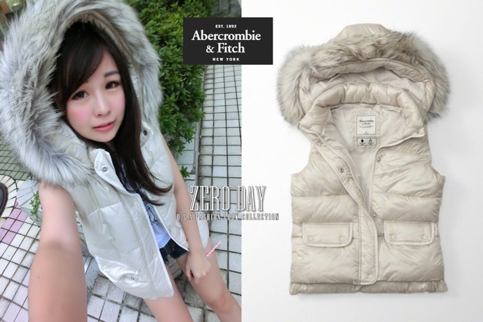 【零時差美國時尚網】A&F Abercrombie&Fitch Hooded Puffer Vest毛毛保暖背心外套白色