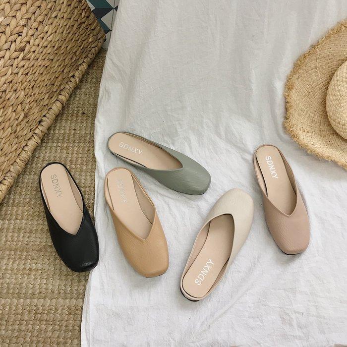 SeyeS 個性英倫歐美時尚素色圓頭拖鞋/穆勒鞋/懶人鞋