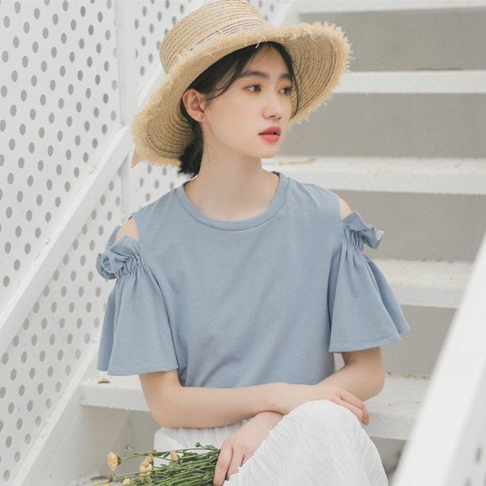SEYES 日系雜誌款甜美立體剪裁荷葉花邊露肩上衣