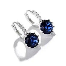鋯石藍水晶耳環 (型號:JP-ER-0003) 全店飾物購滿100元 *包【順豐】運費*