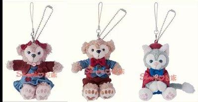 《東京家族》日本東京海洋迪士尼-樂園限定情人節 達菲熊/雪莉玫 傑拉東尼 duffy絨毛吊飾 坐姿 3選1