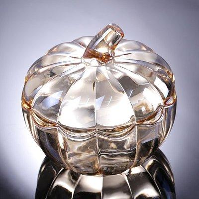 hello小店#創意金色玻璃帶蓋大號南瓜透明干果盤干果盒糖果盤結婚禮物#糖果罐#果盤#收納罐