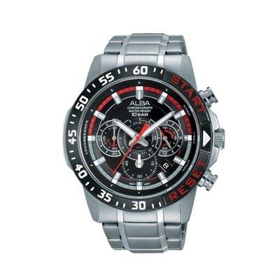 可議價「1958鐘錶城」ALBA雅柏 ACTIVE 男 醒目三眼計時 石英腕錶(AT3967X1) 44mm
