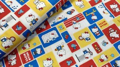 豬豬日本拼布/限量版權卡通布/ 三麗鷗Hello Kitty運動會/牛津布厚棉布料材質