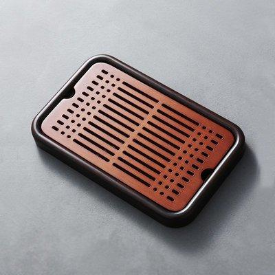 ₴金凱悅㍐儲水茶盤竹制排水長方形托盤家用功夫實木簡約小茶臺日式