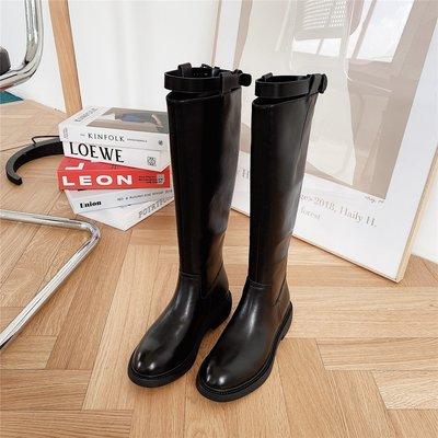 墨染·真皮高筒靴馬靴騎士靴長靴女高筒靴秋冬新款ins潮不過膝靴顯腿瘦